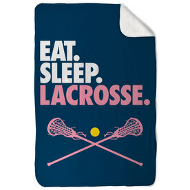 Girls Lacrosse Sherpa Fleece Blanket - Eat. Sleep. Lacrosse. Vertical