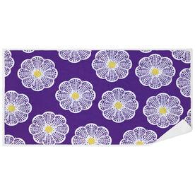 Girls Lacrosse Premium Beach Towel - Lacrosse Stick Flowers