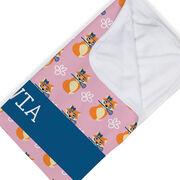 Girls Lacrosse Baby Blanket - Lax Fox Pattern