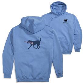 Girls Lacrosse Hooded Sweatshirt - LuLa The LAX Dog Blue (Logo Collection)