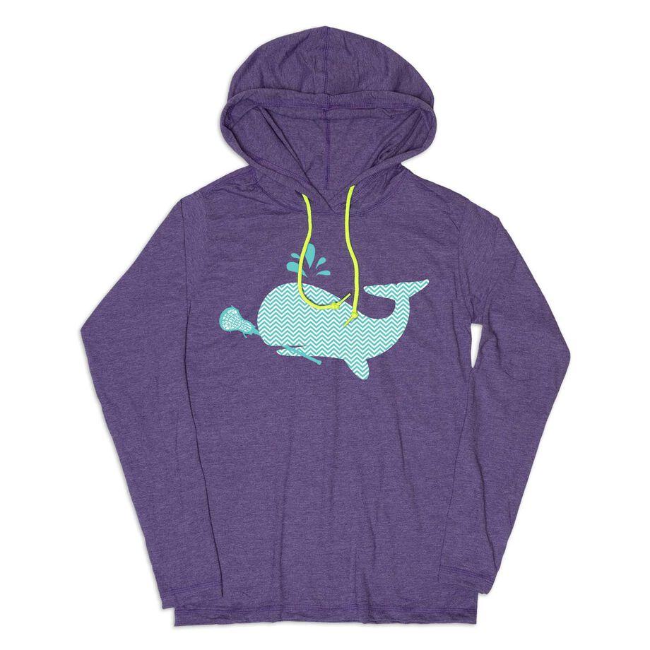 Girls Lacrosse Lightweight Hoodie - LAX Whale Chevron