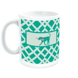 Girls Lacrosse Coffee Mug Monogrammed Lax Dog Weave