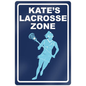 "Lacrosse Aluminum Room Sign Personalized Lacrosse Zone Girl (18"" X 12"")"