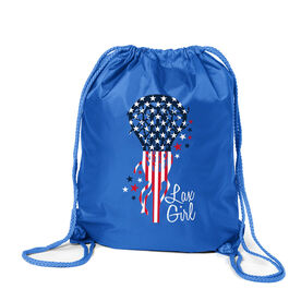 Girls Lacrosse Sport Pack Cinch Sack - Patriotic Lax Girl
