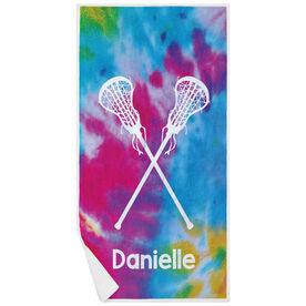 Girls Lacrosse Premium Beach Towel - Personalized Tie Dye Pattern with Sticks