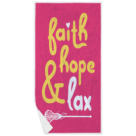 Girls Lacrosse Premium Beach Towel - Faith Hope & Lax