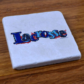 Lacrosse In Color Blue - Natural Stone Coaster