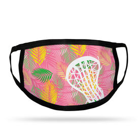 Girls Lacrosse Adult Face Mask - Pink Palm Fronds