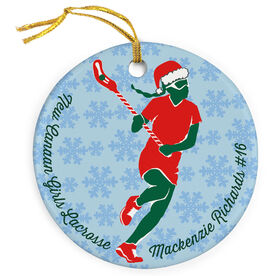 Girls Lacrosse Porcelain Ornament Personalized Christmas Laxer