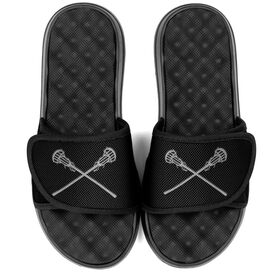 Girls Lacrosse PR SOLES® Adjustable Strap Recovery Slide Sandals - Crossed Sticks