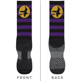Girls Lacrosse Printed Mid-Calf Socks - Witch Riding Lacrosse Stick