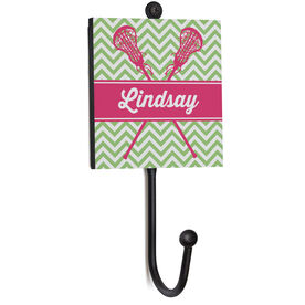 Girls Lacrosse Medal Hook - Personalized Lacrosse Sticks With Chevron Pattern