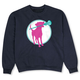 Girls Lacrosse Crew Neck Sweatshirt - Lacrosse Dog with Girl Stick