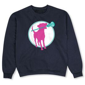 Girls Lacrosse Crew Neck Sweatshirt - Lacrosse Dog with Girl Stick