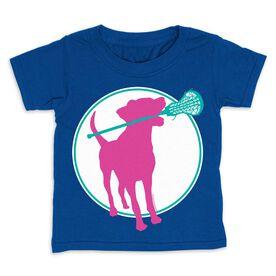 Girls Lacrosse Toddler Short Sleeve Tee - Lacrosse Dog with Girl Stick