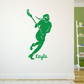 Lacrosse Removable ChalkTalkGraphix Wall Decal Personalized Lacrosse Girl Silhouette