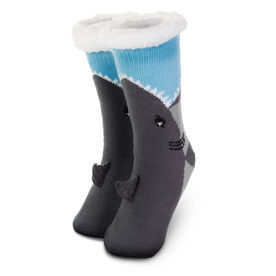 Shark Slipper Socks with Sherpa Lining