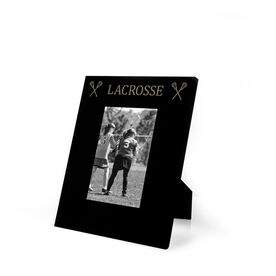 Girls Lacrosse Engraved Picture Frame - Lacrosse & Crossed Sticks