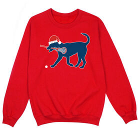Girls Lacrosse Crew Neck Sweatshirt - Girls Lacrosse Christmas Dog