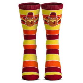 Woven Mid-Calf Socks - Turkey Stripe (Yellow/Orange/Red)
