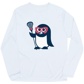 Girls Lacrosse Long Sleeve Performance Tee - Penguin