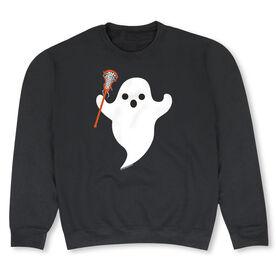 Girls Lacrosse Crew Neck Sweatshirt - Ghost with Lacrosse Stick