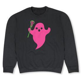 Girls Lacrosse Crew Neck Sweatshirt - Ghost Pink with Lacrosse Stick