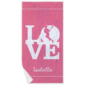 Girls Lacrosse Premium Beach Towel - Love Lacrosse Girl