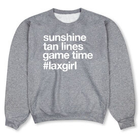 Girls Lacrosse Crew Neck Sweatshirt - Sunshine Tan Lines Game Time