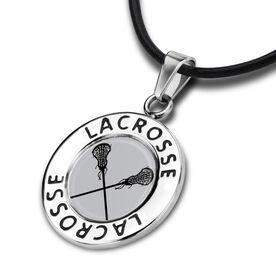 Lacrosse Circle Necklace Crossed Sticks