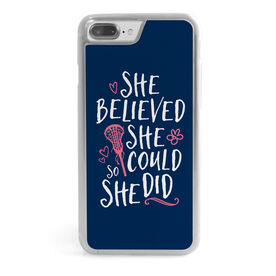 Girls Lacrosse iPhone® Case - She Believed She Could So She Did