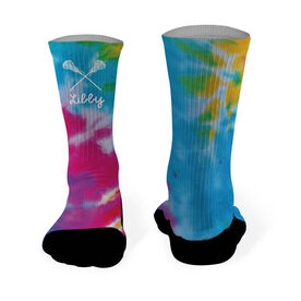 Girls Lacrosse Printed Mid Calf Socks Personalized Tie Dye Pattern with Lacrosse Sticks