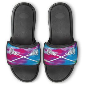 Girls Lacrosse Repwell™ Slide Sandals - Tie Dye With Crossed Sticks
