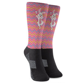 Girls Lacrosse Printed Mid-Calf Socks - Lax Easter Bunny