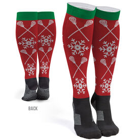 Girls Lacrosse Printed Knee-High Socks - Christmas Crossed Sticks