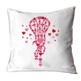 Girls Lacrosse Throw Pillow Lax Stick of Hearts