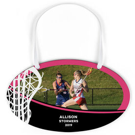 Girls Lacrosse Oval Sign - Team Photo With Stick