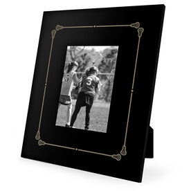 Girls Lacrosse Engraved Picture Frame - Border