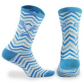 Girls Lacrosse Woven Mid-Calf Socks - Chevron (White/Blue/Teal)
