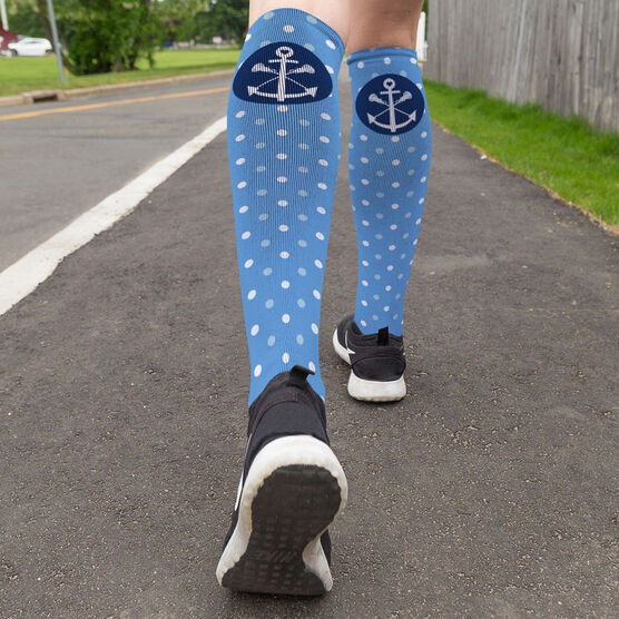 Girls Lacrosse Printed Knee-High Socks - Lax Anchor