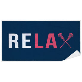 Girls Lacrosse Premium Beach Towel - Relax