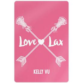 "Girls Lacrosse 18"" X 12"" Aluminum Room Sign Love Lax Crossed Arrows"