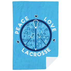 Girls Lacrosse Premium Blanket - Peace Love Lacrosse Flowers