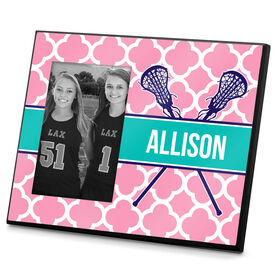 Girls Lacrosse Photo Frame Personalized Girl Lacrosse Sticks Quatrefoil