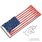 Girls Lacrosse Hooked on Medals Hanger - Lax Flag