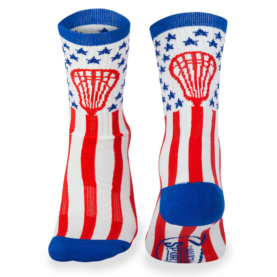Lacrosse Woven Mid Calf Socks - American Lax (Red/White/Blue)