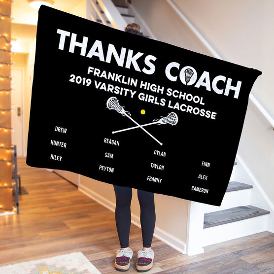 Girls Lacrosse Premium Blanket - Thanks Coach (Horizontal)