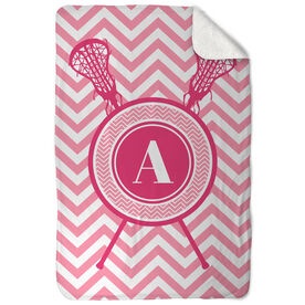 Girls Lacrosse Sherpa Fleece Blanket Single Letter Monogram with Crossed Sticks and Chevron