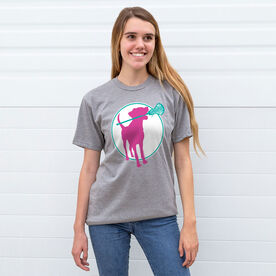 Girls Lacrosse Short Sleeve T-Shirt - Lacrosse Dog with Girl Stick