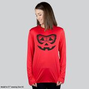 Girls Lacrosse Long Sleeve Performance Tee - Lacrosse Goggle Pumpkin Face